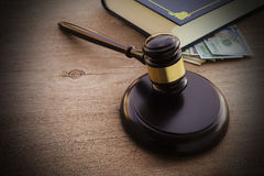 Hammers`s judiciary. On wooden background stock photo