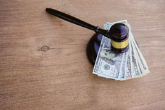 Hammers`s judiciary. On wooden background royalty free stock photography