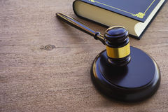 Hammers`s judiciary. On wooden background stock photos
