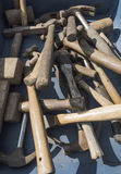 Hammers. A selection of old hammers and mallets in a box at a car boot sale Royalty Free Stock Photos