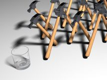Hammers walking toward glass. Group or army of hammers walking towards glass; white studio background royalty free illustration