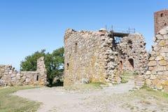 Hammershus城堡废墟 免版税库存图片