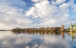 Hammersmith Bridge and south riverside of Thames Stock Images