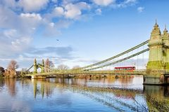 Hammersmith Bridge and south riverside of Thames Royalty Free Stock Images