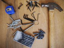 Hammerwerkzeugschraubenzieher-Werkzeugkastenschraube Stockbilder