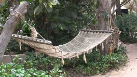 Hammock отбрасывать между пальмами на тропическом пляже сток-видео