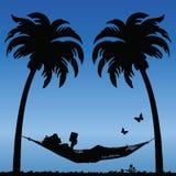 Hammock. Woman Reading in a Hammock Between Palm Tress Vector Illustration