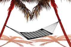 Hammock. Tied to two coconut trees, white background Stock Photo