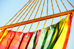 Hammock. Close up shot of a bright coloured hammock Royalty Free Stock Photos
