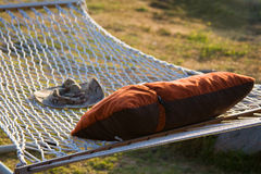 Hammock. Close-up of hammock and pillow Royalty Free Stock Image