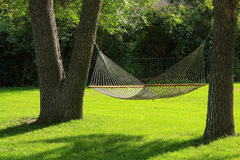 Hammock. Between two trees with green grass. Summertime at it's best Royalty Free Stock Photo