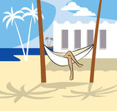 Hammock. On the beach wit woman legs vector illustration