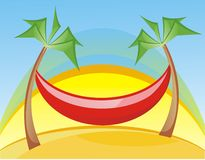 Hammock. Vector illustration: red hammock and sun Stock Image
