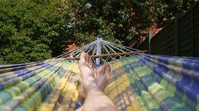 In the hammock. Chilling in the hammock, enjoying the sunshine royalty free stock image