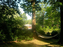 Hammock in backyard Royalty Free Stock Images
