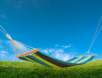 Hammock in backyard Stock Photo
