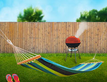 Hammock and bbq Royalty Free Stock Photography