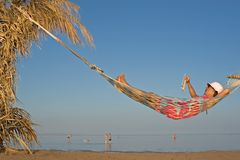 Hammock on the beach Royalty Free Stock Photo