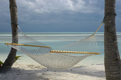 Hammock on the beach. Hammock hanging in palm trees on the beach Royalty Free Stock Photography