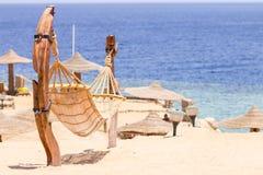 Hammock at the beach near sea Royalty Free Stock Image