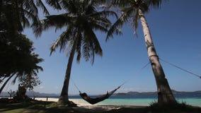 Hammock on beautiful beach. stock video footage