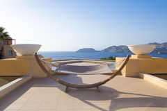 Hammock with beautiful sea view in hotel Royalty Free Stock Photo