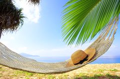 Hammock and bliss. View of nice hammock hanging between two palms with some hat in it royalty free stock photography