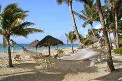 Hammock in the Caribbean. Hammock at the beach of Playa del Carmen, Yucatan, Mexico Stock Photos