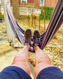 Hammock chill. Relax nap outside royalty free stock image
