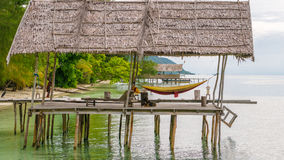 Hammock on Diving Station - Kri Island. Raja Ampat, Indonesia, West Papua.  Royalty Free Stock Photos