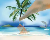 Hammock and dolphins Royalty Free Stock Images