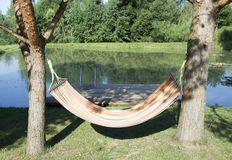 Hammock By The Pond stock images