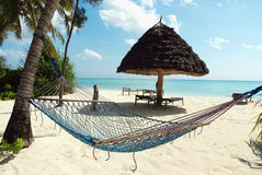 Hammock in a heavenly resort. Picture of a hammock in a heavenly resort Royalty Free Stock Photos