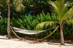 Rope hammock suspended on tropical island. This hammock invites relaxation and some leisure time in some wonderful, tropical sunshine Stock Photography
