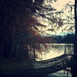 Hammock. Lakeside on a dock fall color calm Royalty Free Stock Images