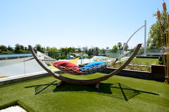 The hammock is on lawn in luxury hotel Stock Photos