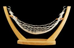 Hammock made of net and wood isolated Royalty Free Stock Image