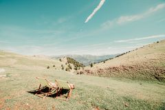 hammock on the mountain royalty free stock photography