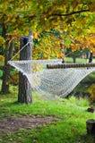 Hammock near the pond in autumn Park. A hammock near the pond in autumn Park Royalty Free Stock Image