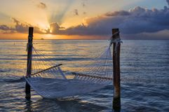 Hammock over the sea at sunset Stock Photography