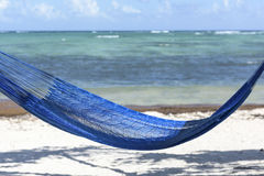 Hammock Overlooking the Caribbean Sea. A bright blue hammock on the beach at Soliman Bay near Tulum, Mexico Stock Photos