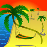 Hammock on palm. Hammock is the place for rest on the beach in summer Royalty Free Stock Image