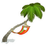Hammock on a palm tree, vector isolated Stock Illustration