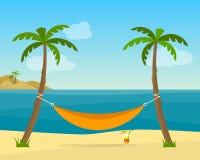 Hammock with palm trees on beach Stock Photos