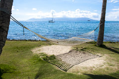 Hammock between Palm Trees. Hammock on the beach between palm trees in Tahiti Royalty Free Stock Photos
