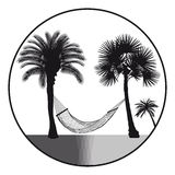 Hammock and palm trees. Black and white illustration of a comfortable hammock hung between two tall palm trees Stock Images