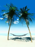Hammock between palmtrees Royalty Free Stock Photos