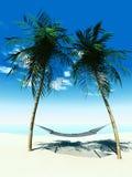 Hammock between palmtrees Royalty Free Stock Photos