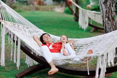 Hammock and people Royalty Free Stock Images