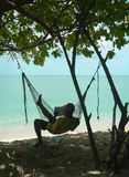 Hammock Reader Coral Beach Royalty Free Stock Photography